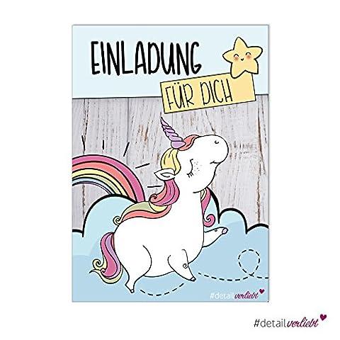 15 Einhorn-Einladungskarten | dv_220 | DIN A6 | Einladung Geburtstag Party Feier Fete Regenbogen Sterne Unicorn Karte Kindergeburtstag Set Mädchen Recyclingpapier