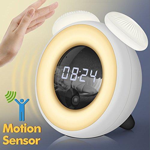 Lichtwecker,LED Digital Wake Up Light Kinder Wecker Nachtlicht Wecker mit Zeigt Uhrzeit ,Touch Control für Kinder, Erwachsene, Kleinkinder, Jugendliche (Weiß)