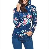 Tshirt Oberteile Damen Elegant Sommer Lässiger Print Langarm Kapuzenpulli Hoodie Sweatshirt Tops (Dark Blue, XL)