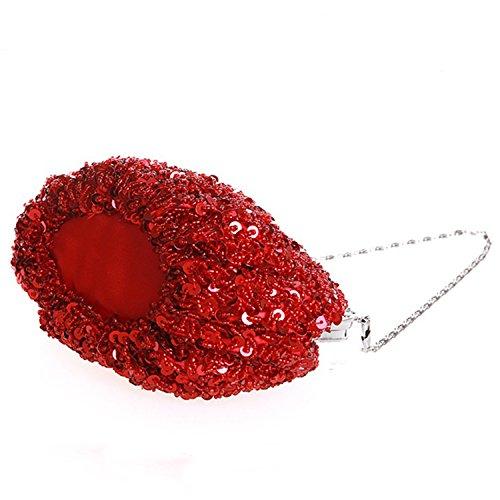 Azbro Women's Stylish Sequin Beaded Mini Evening Handbag, Blue One Size Red