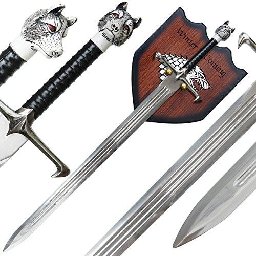 g8ds® Jon Longclaw Haus Stark Schwert mit Wandhalterung Game of Thrones - Taschenmesser Firefighter