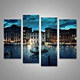 islandburner Bild Bilder auf Leinwand XXL Leinwandbild Wandbilder Kunstdrucke Poster 4-teilig BDN Venedig Gondoliere
