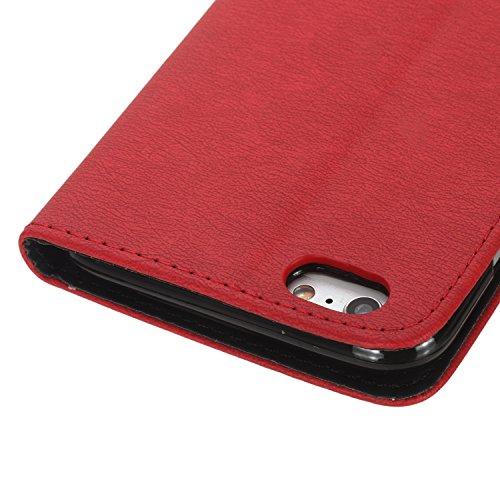 iPhone 6 Plus Coque, Voguecase Étui en cuir synthétique chic avec fonction support pratique pour Apple iPhone 6 Plus/6S Plus 5.5 (Rouge/Noir)de Gratuit stylet l'écran aléatoire universelle Rouge/Noir