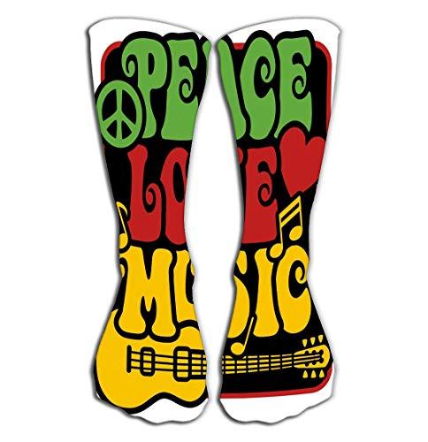 Xunulyn Hohe Socken Outdoor Sports Men Women High Socks Stocking Peace Love Music Rasta Colors Charming Tile Length 19.7