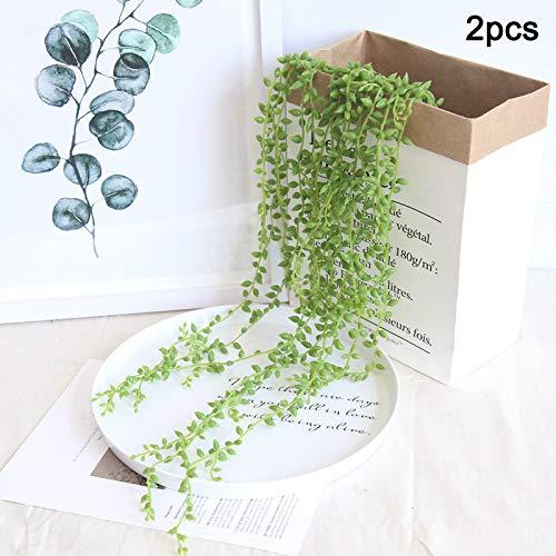 MAyouth künstliche Sukkulenten im Topf - gefälschte Sukkulenten - 2er Set - Home, Bad, Büro Dekor Geschenk - Imitat Topfpflanzen - String Wandbehang Dekor