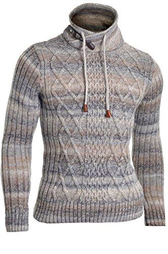 Herren Pullover Zip Trichter Schalkragen Wolle Chunky Knit Lange Ärmel Sweatshirt Gestreift - Chunky Wolle Pullover