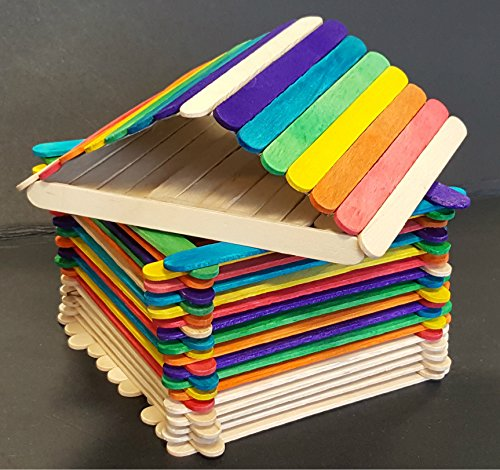 100 Jumbo Natural Coloured Wooden Lolly Sticks - Packed by the CandyRush™ Charity - 148x20x2mm - for Ice or Cake Pops & Kids Crafts Models
