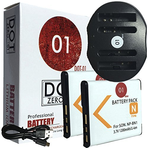 2x DOT-01 Brand 1200 mAh Replacement Sony NP-BN1 Batteries and Dual Slot USB Charger for Sony DSC-W830 Digital Camera and Sony BN1  available at amazon for Rs.3649