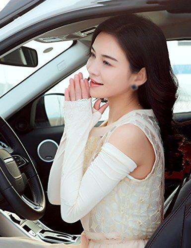 Gants féminins d'été féminins Gants Gants antidérapants Gants de traction anti-UV à dentelle semi-drole ( Couleur : 2 ) 3