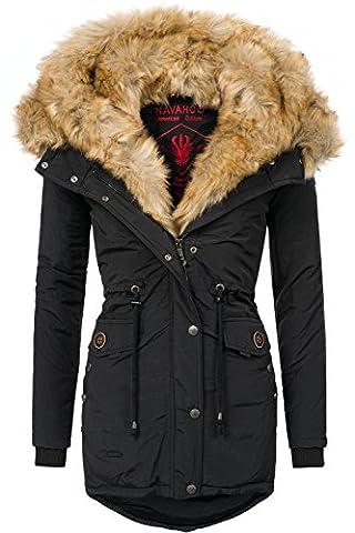 Navahoo Damen Mantel mit doppelter Kunstpelz-Kapuze Sweety (vegan hergestellt) Schwarz Gr. L