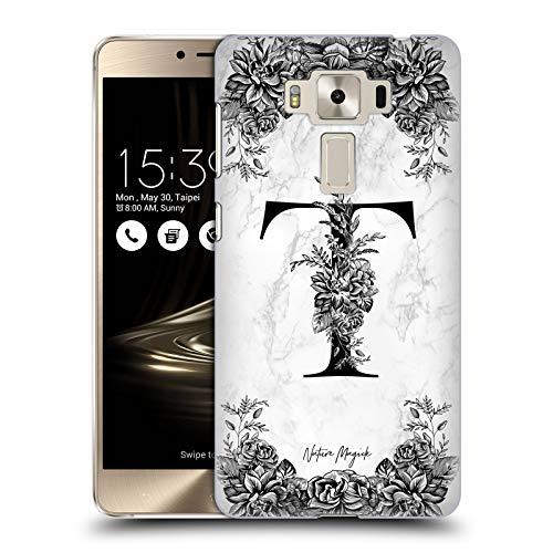 Head Case Designs Offizielle Nature Magick Buchstabe T B&W Marmor Monogramm 2 Ruckseite Hülle für Zenfone 3 Deluxe 5.5 ZS550KL