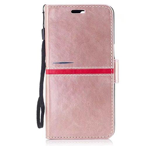 EKINHUI Case Cover Echtes Qualitäts-elegantes PU-Leder-Schlag-Standplatz-Fall-Abdeckung mit Lanyard und Karten-Schlitzen für OnePlus 5 ( Color : Red ) Rosegold