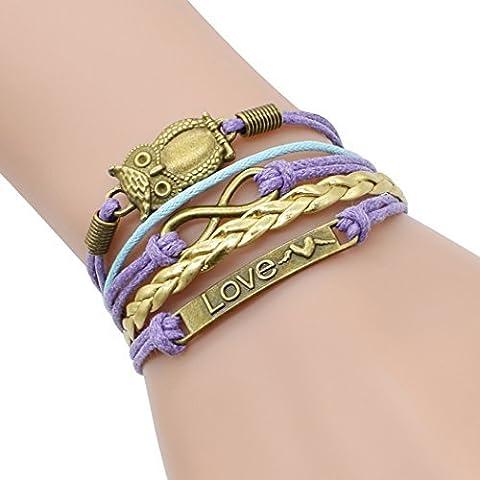 temps Usurier rétro Bronze Chouette deux cœurs Amour Unique réglable tressé Bracelet
