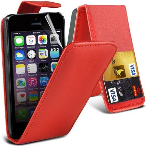 Apple iPhone SE Leather Flip Case Cover (Red) Plus Free Gift, Screen Protector and a Stylus Pen, Order Now Best Valued Phone Case on Amazon! By FinestPhoneCases