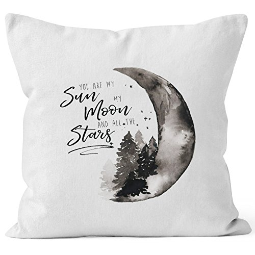 MoonWorks Kissenbezug You Are My Sun, My Moon and All The Stars Liebe Spruch Love Quote Verliebt Kissen-Hülle Deko-Kissen Weiß 40cm x 40cm