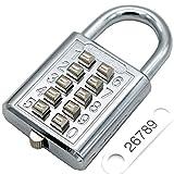Lucchetto a combinazione a pulsante con cifre 10 cifre, meccanismo di blocco a 5 cifre, argento