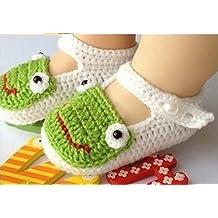 tfrdertuuigf bebé recién nacido infantil ganchillo zapatos calcetines sandals-white rana