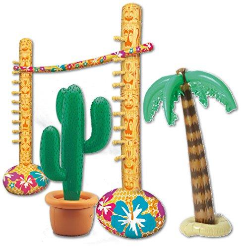 Strand- Partyset - Aufblasbare Limbo Spiel + Aufblasbare Palme + aufblasbar Kaktus ()