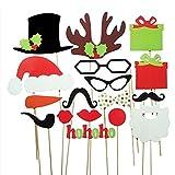 Rosenice 17pcs DIY lustige Brille Schnurrbart roten Lippen Hirsch Horn Nikolausmütze auf Sticks Weihnachten Hochzeit Party Foto Booth Props