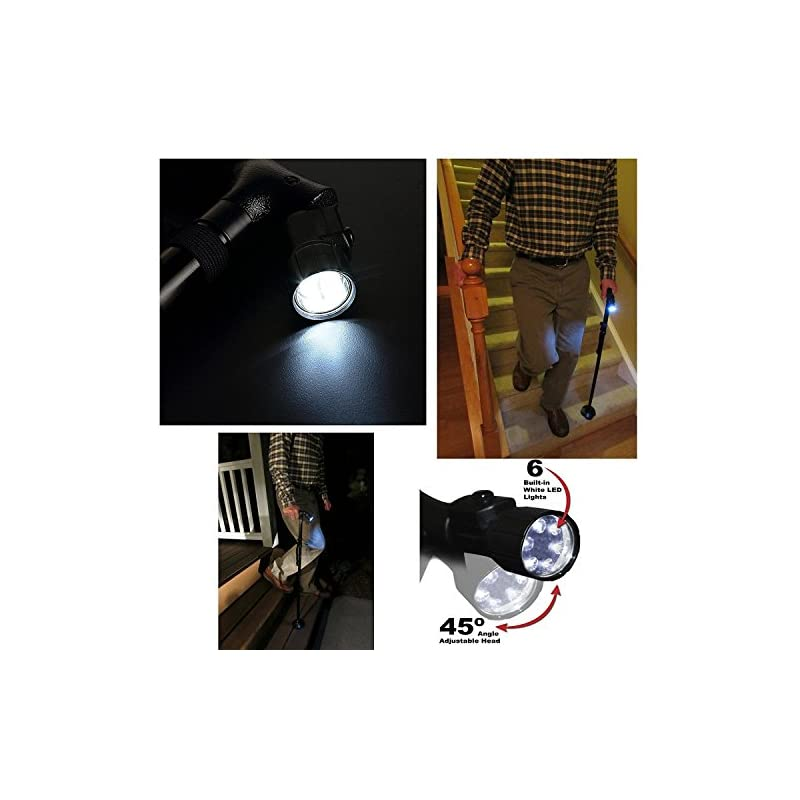 BeGrit Foldable Cane Stick LED Folding Walking Cane Adjustable Aluminum Non Slip Walking Stick with Light Free Standing…
