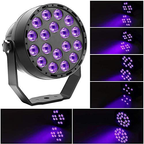 UKing Schwarzlicht 18 x 2W UV LED Strahler Par Licht DMX Lichteffekte Partylicht für DJ Disco Karneval Halloween und Weihnachten Schwarzlichtlampe