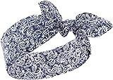 Küstenluder Damen Haarband Almy Paisley Bandana Dunkelblau mit weißem Paisleymuster 53cm x 53cm