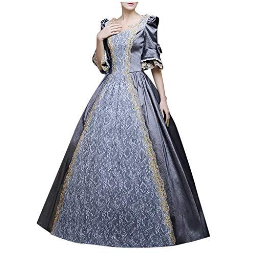 Lazzboy Kostüm Kleid Damen Gothic Retro Court Princess Halbarm Mittelalter Party Kostüme Kleid Ballkleid Renaissance Partykleid Maxikleid Cosplay Bodenlänge(Grau,5XL)
