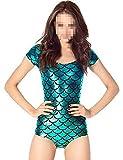 Damen Tight Tops Fish Scale Sexy Bademode Badeanzug VQ739 Blau Gr.One Size