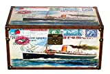 Truhe Kiste SJ07515 Dampfschiff, Postkarte,Hafen, Maritim, Holztruhe mit Canvas bezogen im Vintage Look, Schatzkiste,Kiste, Piratenkiste, Kleinmöbel, Mit Metallbeschlägen, Antikoptik, Holz, verschieden Größen, Maritim, Deko, Hochwertig, Kolonialtruhe, Kolonialstil, Holzbox, Truhe mit Ornamenten (Größe L 49cmx28cmx25cm)