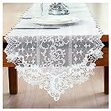 Rancheng Chemin de Table Decoration Lace Dentelle Maille Blanc Table Runner pour Fêtes Mariage Anniversaire Bouquet 40cmx70cm