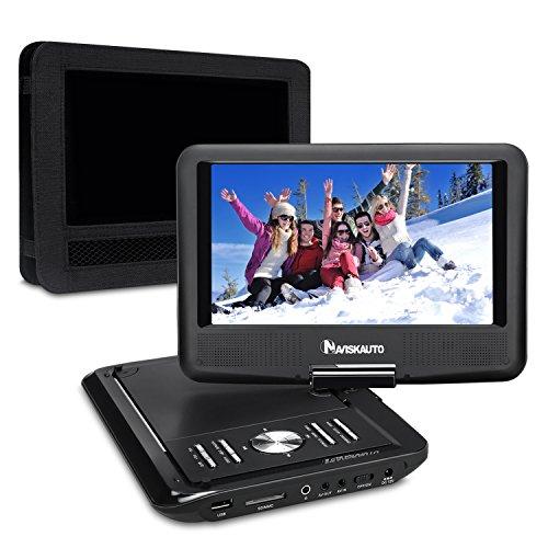 NAVISKAUTO 9 Zoll Tragbarer DVD Player 5 Stunden Akku Kopfstütze Monitor 270° Drehbar Display DVD Memory Funktion PD0901 Schwarz