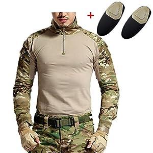 haoYK Militaire Paintball BDU Manches Longues Airsoft Chemise Camo Tactique Chemises avec Coudières Multicam