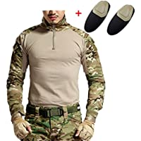haoYK Camisa táctica de Airsoft de la manga larga de Paintball BDU militar Camisas tácticas de Camo con las placas de codo (M)