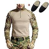 haoYK Militär Paintball BDU Langarm Airsoft Shirt Camo Taktische Shirts mit Ellbogenschützer Multicam (XXL)