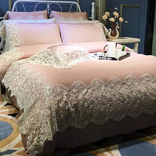CXCX Bettbezug-Set Bettwäsche Kissenbezug Haushaltswaren Vierteilige Satin Tencel Luxus Prinzessin Spitze Charmant,Pink-2.2mbed