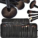 HilaryRhoda Professional Makeup Brush Set Of 24 Brushes With Travel And Carry Case, Black