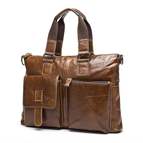 Stepack, borsa a mano da uomo, cartella a tracolla da uomo in vera pelle, Black (Nero) - BAM005_Black Brown