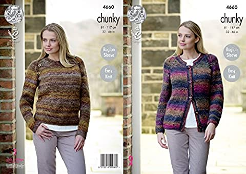 King Cole Womens Chunky Knitting Pattern Ladies Easy Knit Raglan Sleeve Cardigan & Sweater (4660)