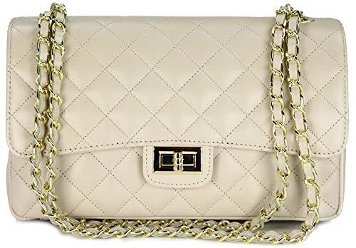 Belli ital. Echt Nappa Leder Abendtasche Damentasche Paris Umhängetasche gesteppt - Farbauswahl - 27x17x10 cm (B x H x T) (Beige)