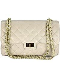 bc82ad5ac4ede Belli italienische Echt Nappa Leder Abendtasche Damentasche Paris  Umhängetasche gesteppt - 27x17x10 cm (B x
