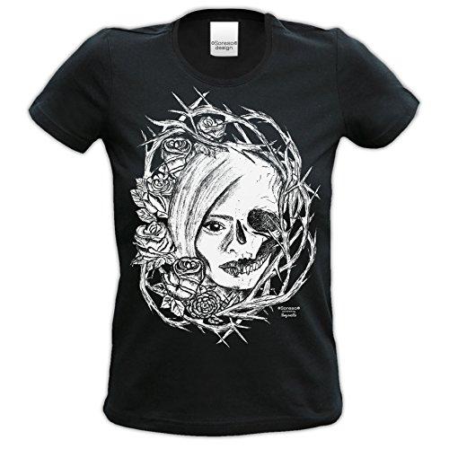 Totenkopf : Skull Biker Freizeit Shirt für Frauen Mädchen : Halloween Outfit Farbe: schwarz Gr: XXL (Frauen Halloween Outfit)