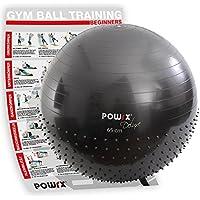 POWRX Ballon DE Gymnastique moitié Picots - Yoga, Pilates / 55, 65 ou 75 cm