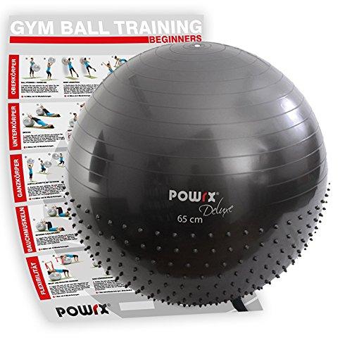 POWRX Gymnastikball mit Noppen inkl. Workout I Massage Sitzball 55cm 65cm 75cm I Für einen gesunden Rücken I Gym Ball Büro oder zu Hause (65 cm) - Übung Hälfte Ball