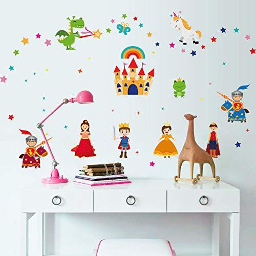 Cartoon Schloss Prinz Prinzessin Wandaufkleber Drachen Einhorn Stern Dekoration Kinderzimmer Prinzessin Zimmer Kleiderschrank Decor Pvc Aufkleber
