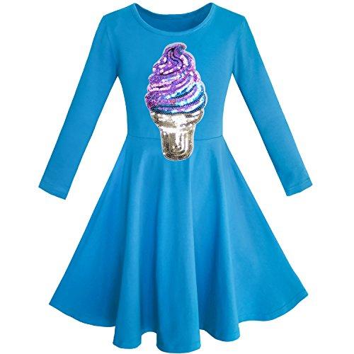 Mädchen Kleid Eule Ice Sahne Schmetterling Pailletten Täglich Kleiden Gr. 122 Blaues Pailletten Kleid