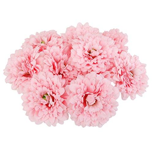 20x Kunstseide Blumen Köpfe Blumenköpfe Blühen Party Hause Garten Dekoration - Rosa 1