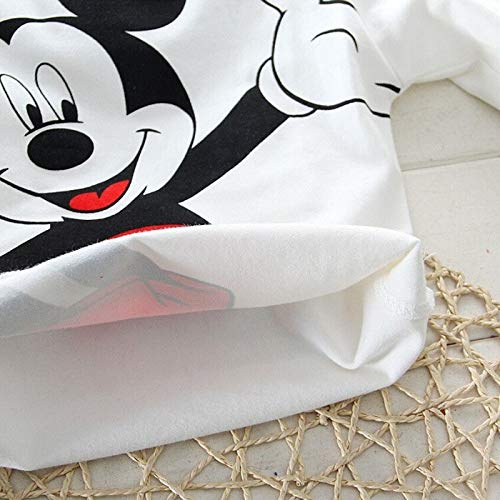 Bold N Elegant Attractive White n Red Mickey Mouse Cute Cartoon Tshirt Pyjama Set Little Baby Boy Girl Clothing Two Piece Full Length Tee n Pant for kids (2-3 Years)