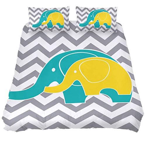 TIZORAX - Juego de sábanas con diseño de Elefantes Zigzag, Juego de...