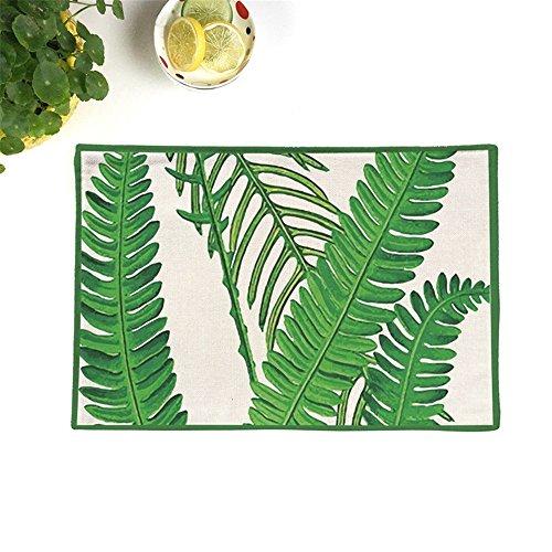 HJHET Frische grüne Blätter Baumwolle Hanf double layer Plus rutschfester Punkt Isolierung Kissen wasserdichte Tuch mat Kaffee Mat Tabelle mat