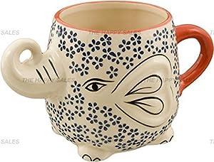 Hand-Painted Elephant Coffee Tea Mug Cups (Blossom) by Happy Sales